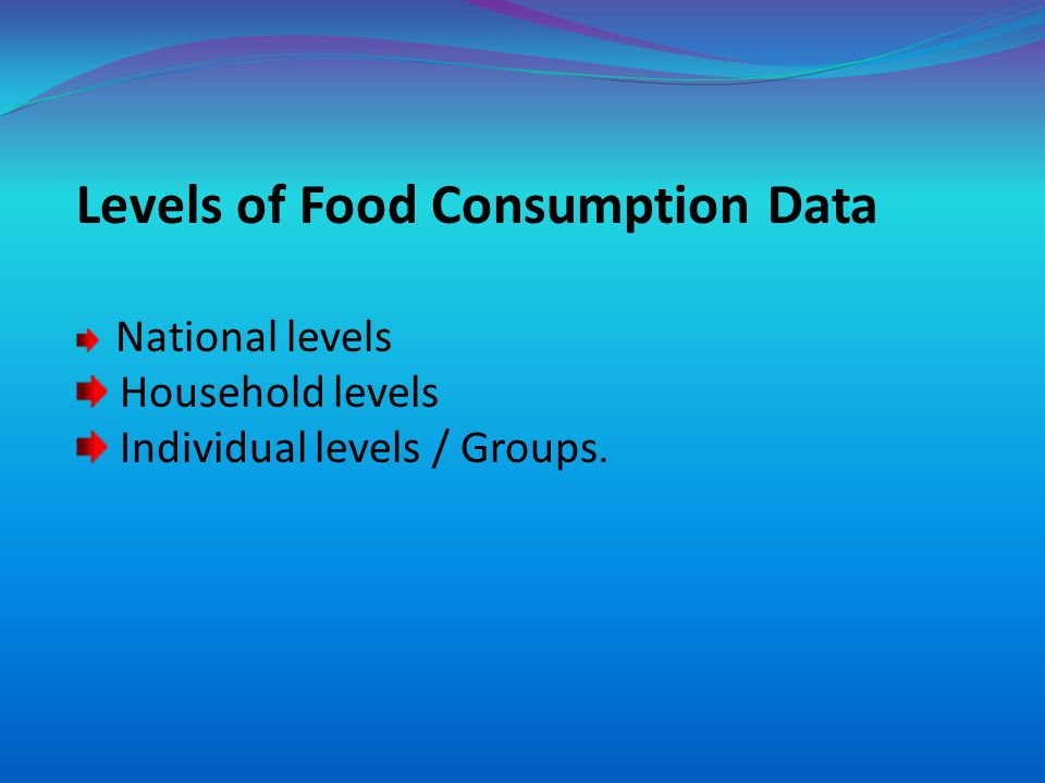 Levels of Food Consumption Data National levels Household levels Individual levels / Groups.