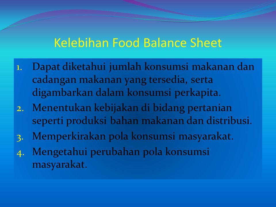 Kelebihan Food Balance Sheet 1. Dapat diketahui jumlah konsumsi makanan dan cadangan makanan yang tersedia, serta digambarkan dalam konsumsi perkapita
