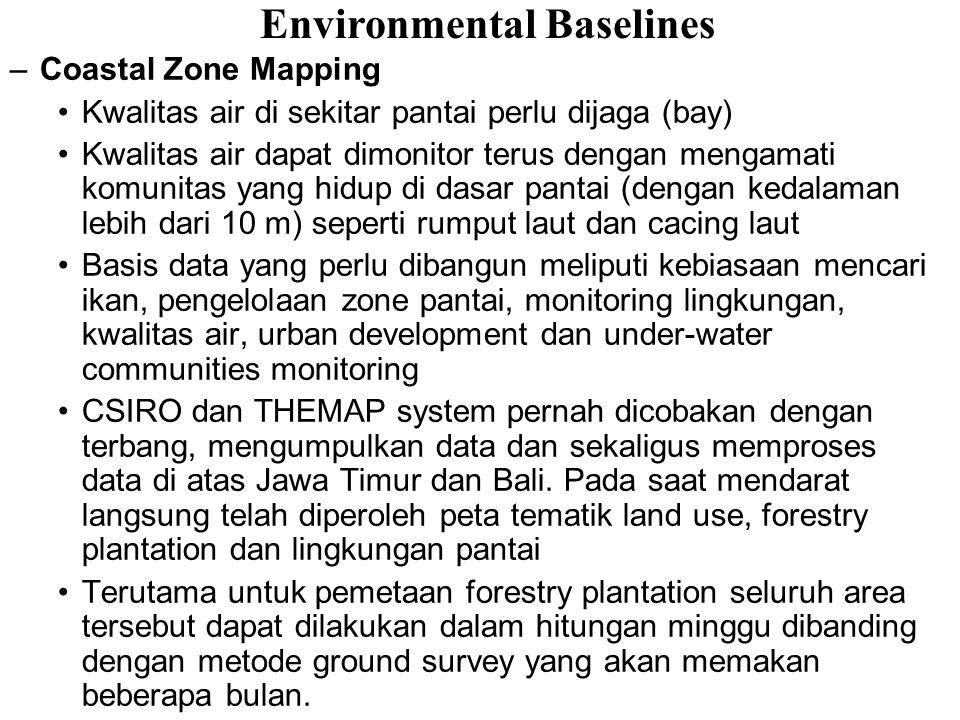 –Coastal Zone Mapping Kwalitas air di sekitar pantai perlu dijaga (bay) Kwalitas air dapat dimonitor terus dengan mengamati komunitas yang hidup di da