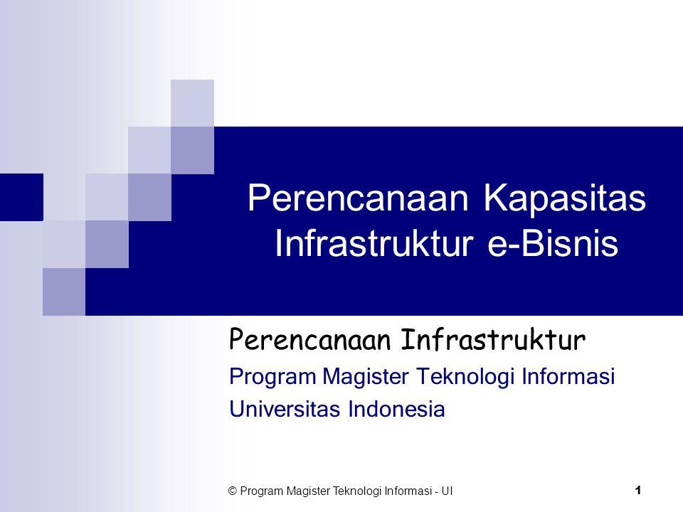 © Program Magister Teknologi Informasi - UI 2 e-Business Definition Definisi dari perspektif TI:  Praktek pengoperasian secara terintegrasi proses-proses bisnis yang terlibat dalam penciptaan nilai tambah dengan memanfaatkan teknologi informasi dan komunikasi (TIK) secara ekstensif.