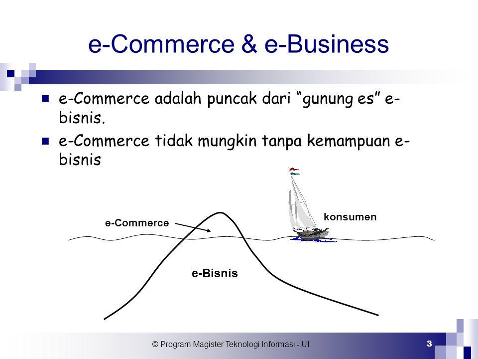 """© Program Magister Teknologi Informasi - UI 3 e-Commerce & e-Business e-Commerce adalah puncak dari """"gunung es"""" e- bisnis. e-Commerce tidak mungkin ta"""