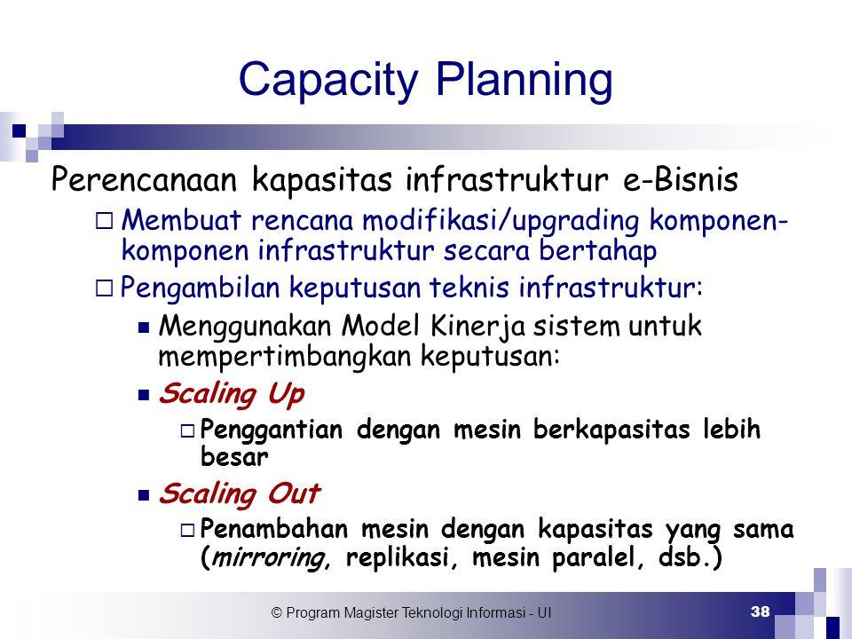 © Program Magister Teknologi Informasi - UI 38 Capacity Planning Perencanaan kapasitas infrastruktur e-Bisnis  Membuat rencana modifikasi/upgrading k