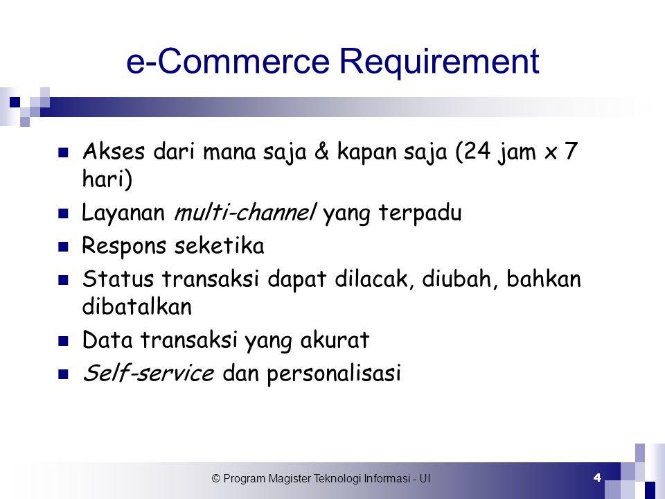 © Program Magister Teknologi Informasi - UI 4 e-Commerce Requirement Akses dari mana saja & kapan saja (24 jam x 7 hari) Layanan multi-channel yang te