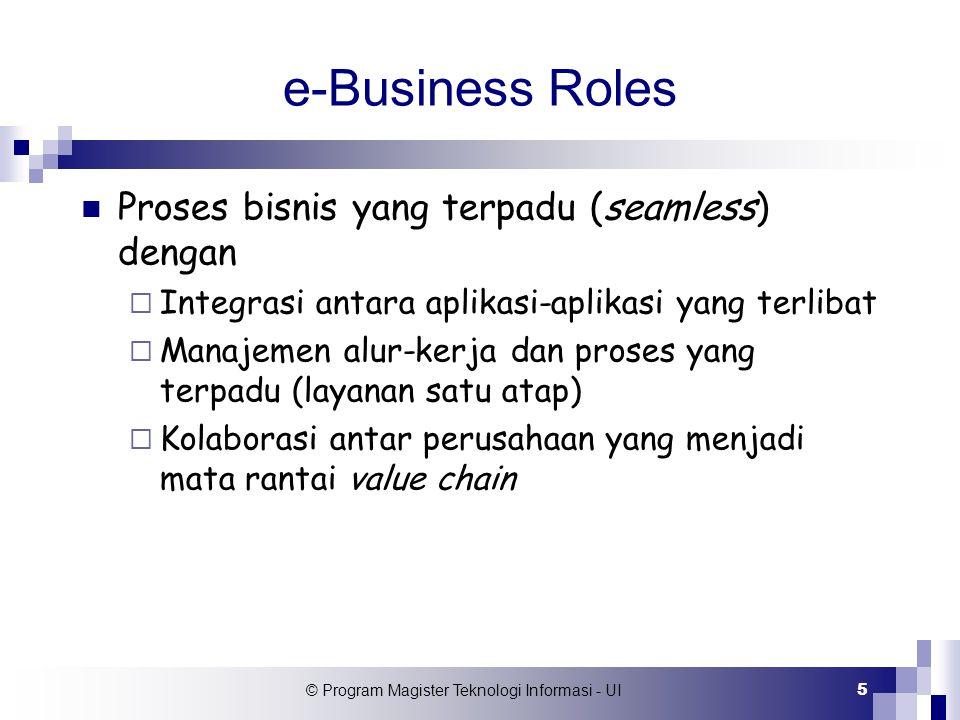 © Program Magister Teknologi Informasi - UI 5 e-Business Roles Proses bisnis yang terpadu (seamless) dengan  Integrasi antara aplikasi-aplikasi yang