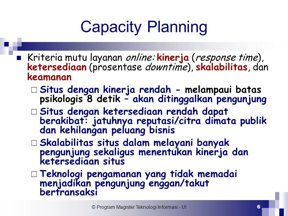 © Program Magister Teknologi Informasi - UI 6 Capacity Planning Kriteria mutu layanan online: kinerja (response time), ketersediaan (prosentase downti