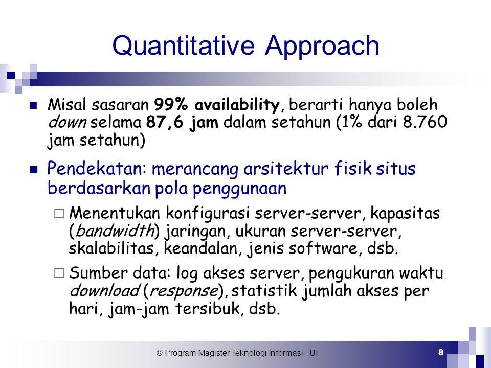 © Program Magister Teknologi Informasi - UI 29 CSID Dari CSID dapat dihitung  Probabilitas DB server akan digunakan dalam suatu sesi: 1,0 x 0,95 x 0,8 = 0,76  Berapa kali rata-rata server apklikasi akan digunakan dalam suatu sesi: 1 x (0,95 x 0,2) + 2 x (0,95 x 0,8) = 1,71 kali  Berapa rata-rata jumlah kbytes per sesi yang melalui jaringan lokal (LAN) yang menghubungkan server-server situs: 0,05 x (m1+m2) + 0,19 x (m1+m3+m4+ m5) + 0,76 x (m1+m3+m6+m7+m8+m9)