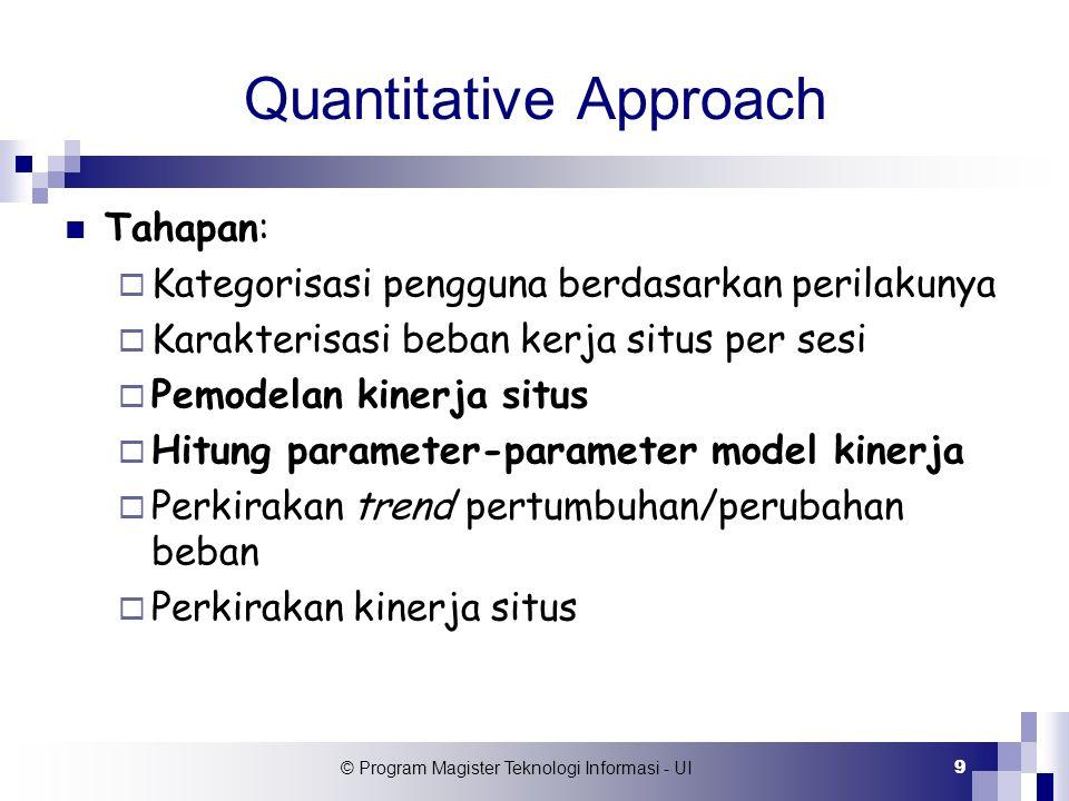 © Program Magister Teknologi Informasi - UI 9 Quantitative Approach Tahapan:  Kategorisasi pengguna berdasarkan perilakunya  Karakterisasi beban ker