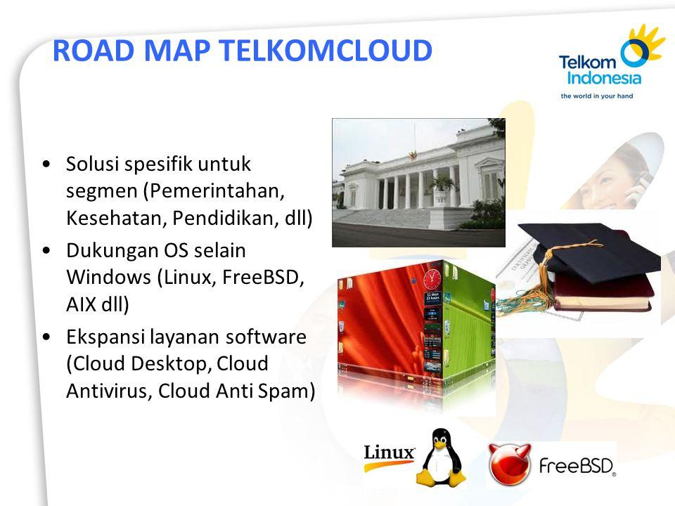 ROAD MAP TELKOMCLOUD Solusi spesifik untuk segmen (Pemerintahan, Kesehatan, Pendidikan, dll) Dukungan OS selain Windows (Linux, FreeBSD, AIX dll) Ekspansi layanan software (Cloud Desktop, Cloud Antivirus, Cloud Anti Spam)