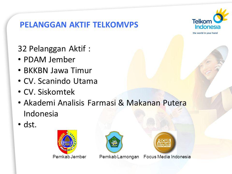 PELANGGAN AKTIF TELKOMVPS 32 Pelanggan Aktif : PDAM Jember BKKBN Jawa Timur CV.