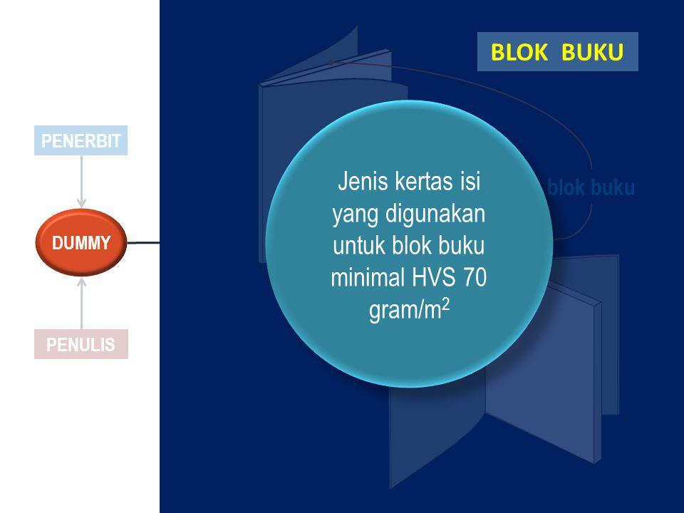 PENERBIT PENULIS DUMMY blok buku Jenis kertas isi yang digunakan untuk blok buku minimal HVS 70 gram/m 2 Jenis kertas isi yang digunakan untuk blok bu