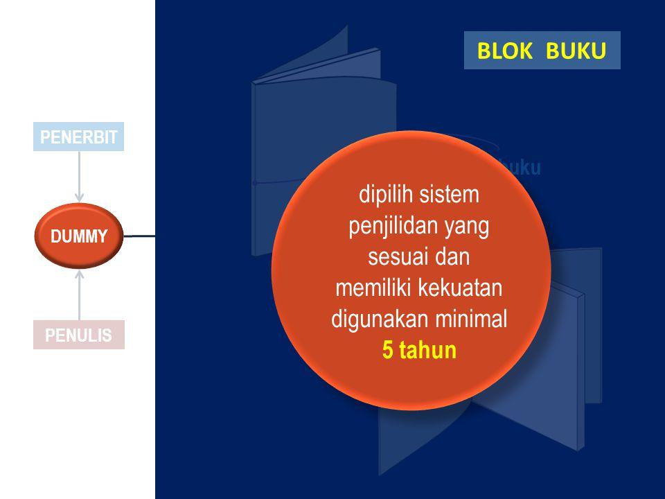 PENERBIT PENULIS DUMMY Jilid buku dipilih sistem penjilidan yang sesuai dan memiliki kekuatan digunakan minimal 5 tahun BLOK BUKU