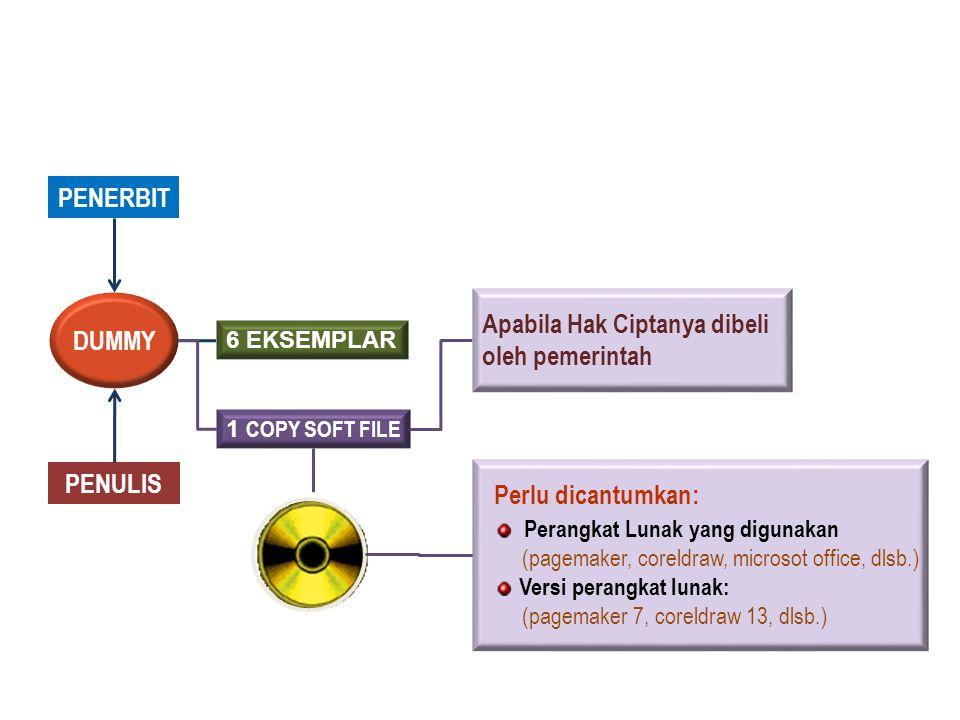PENERBIT PENULIS DUMMY 6 EKSEMPLAR 1 COPY SOFT FILE Perlu dicantumkan: Perangkat Lunak yang digunakan (pagemaker, coreldraw, microsot office, dlsb.) Versi perangkat lunak: (pagemaker 7, coreldraw 13, dlsb.) Apabila Hak Ciptanya dibeli oleh pemerintah