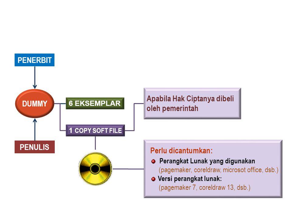 PENERBIT PENULIS DUMMY 6 EKSEMPLAR 1 COPY SOFT FILE Perlu dicantumkan: Perangkat Lunak yang digunakan (pagemaker, coreldraw, microsot office, dsb.) Versi perangkat lunak: (pagemaker 7, coreldraw 13, dsb.) Apabila Hak Ciptanya dibeli oleh pemerintah