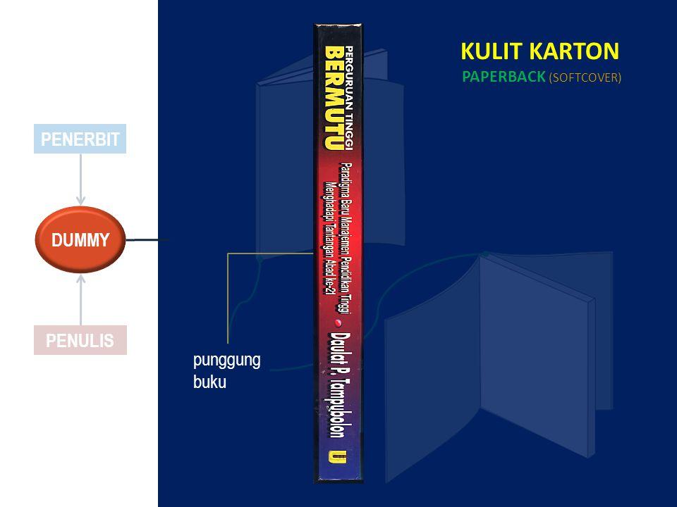 PENERBIT PENULIS KULIT KARTON PAPERBACK (SOFTCOVER) punggung buku DUMMY