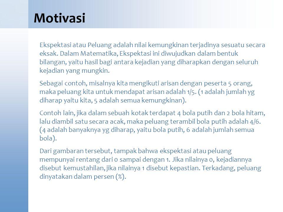 Motivasi Ekspektasi atau Peluang adalah nilai kemungkinan terjadinya sesuatu secara eksak. Dalam Matematika, Ekspektasi ini diwujudkan dalam bentuk bi