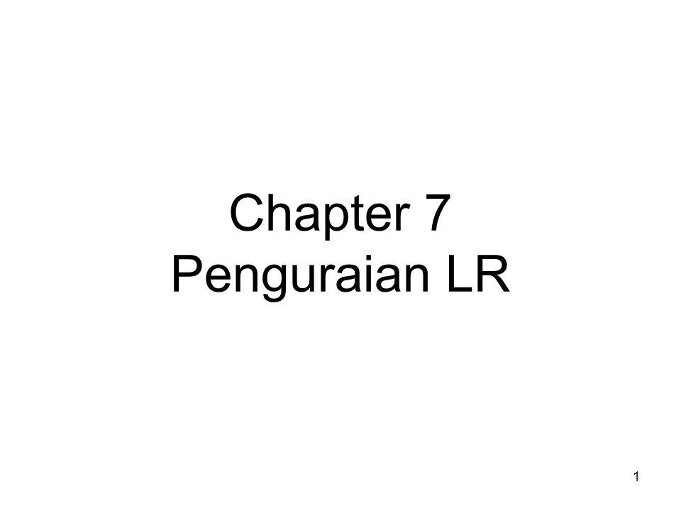 12 Untuk membuat tabel ini diperlukan beberapa definisi: 1.item LR(0) atau item saja.