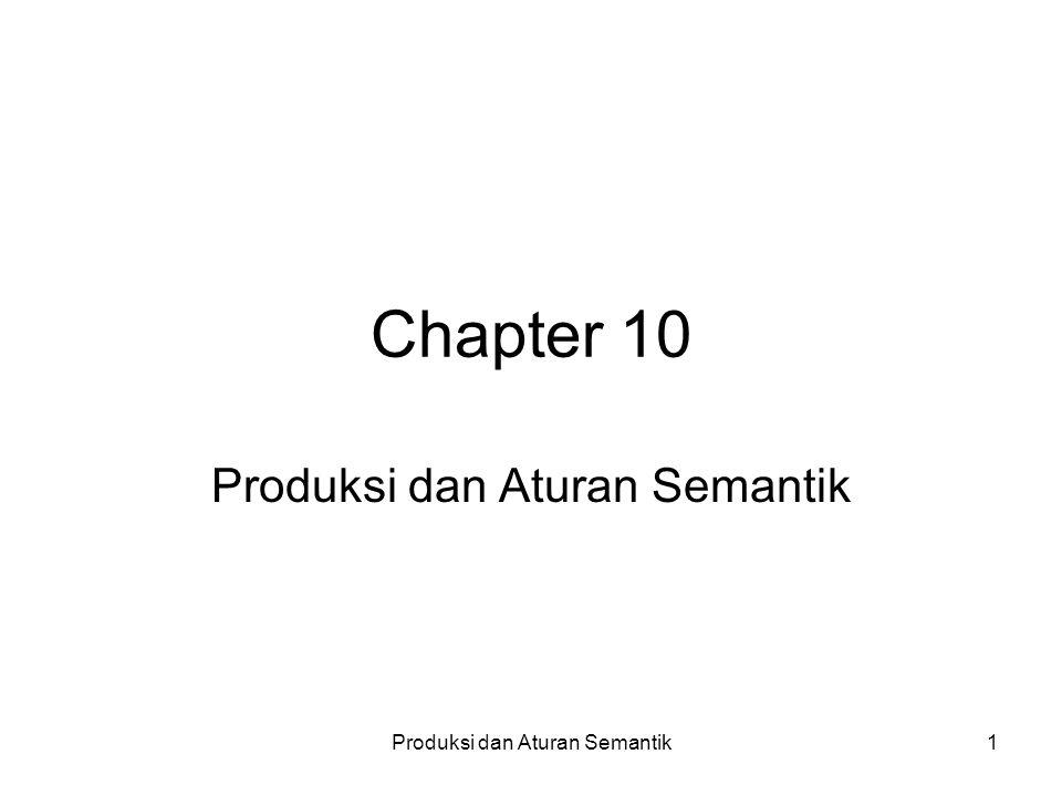 Produksi dan Aturan Semantik1 Chapter 10 Produksi dan Aturan Semantik