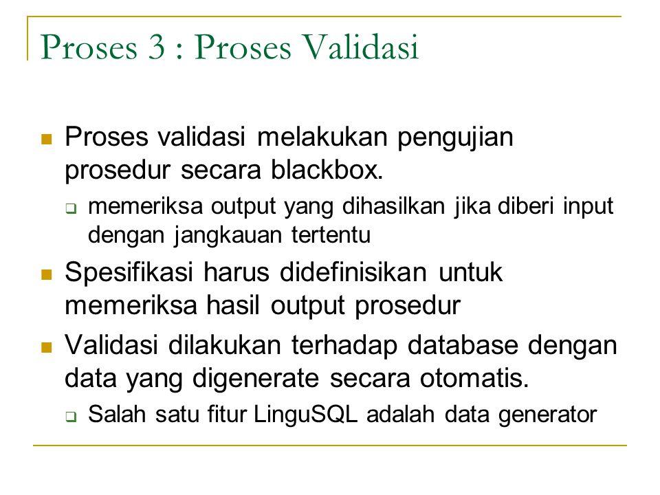 Proses 3 : Proses Validasi Proses validasi melakukan pengujian prosedur secara blackbox.  memeriksa output yang dihasilkan jika diberi input dengan j