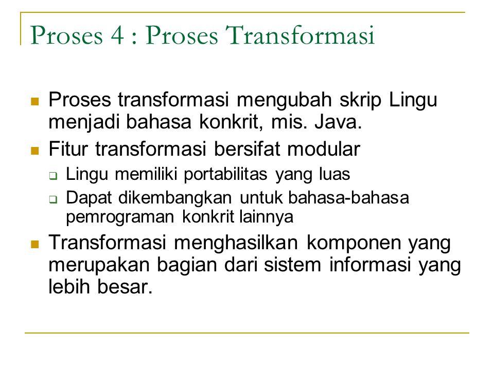Proses 4 : Proses Transformasi Proses transformasi mengubah skrip Lingu menjadi bahasa konkrit, mis. Java. Fitur transformasi bersifat modular  Lingu