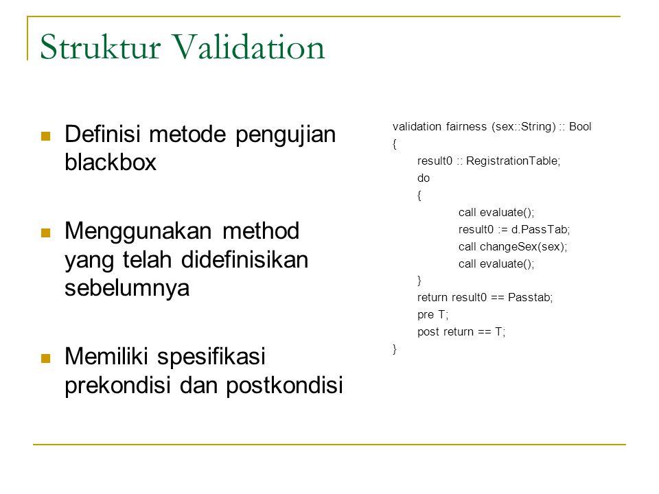Struktur Validation Definisi metode pengujian blackbox Menggunakan method yang telah didefinisikan sebelumnya Memiliki spesifikasi prekondisi dan post