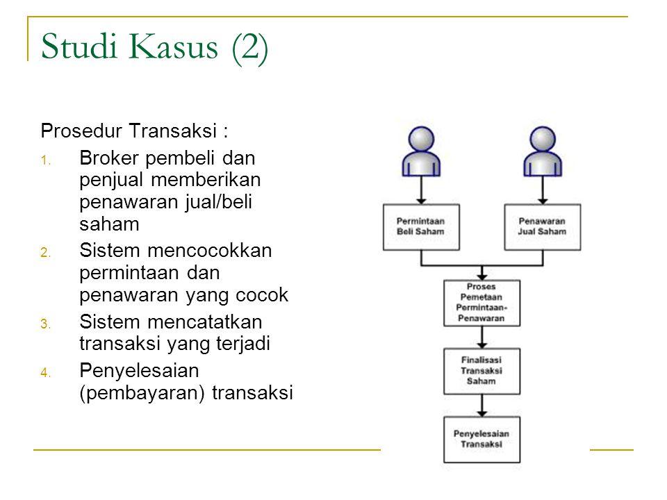 Studi Kasus (2) Prosedur Transaksi : 1. Broker pembeli dan penjual memberikan penawaran jual/beli saham 2. Sistem mencocokkan permintaan dan penawaran