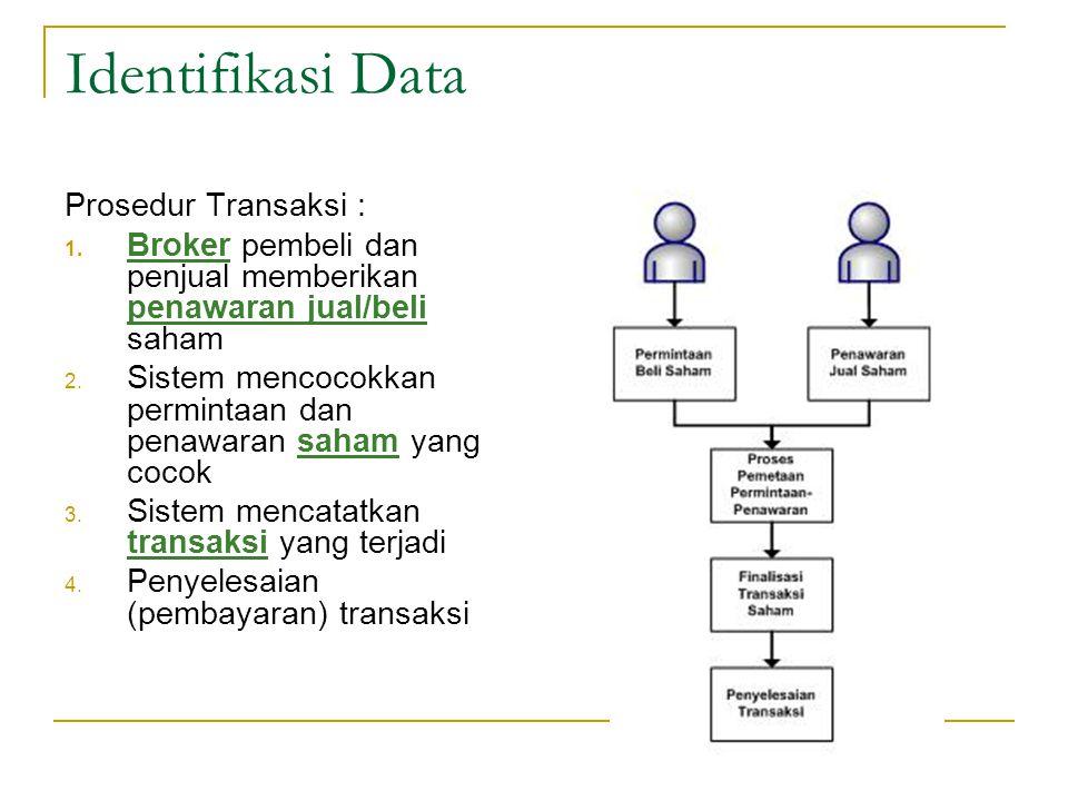 Identifikasi Data Prosedur Transaksi : 1. Broker pembeli dan penjual memberikan penawaran jual/beli saham 2. Sistem mencocokkan permintaan dan penawar