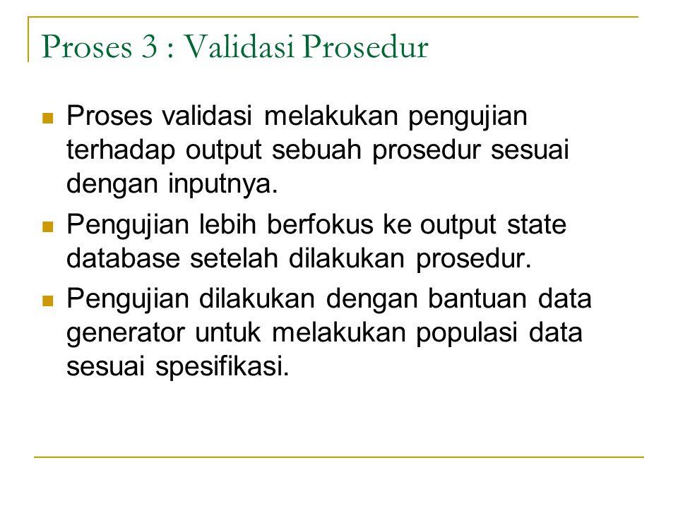 Proses 3 : Validasi Prosedur Proses validasi melakukan pengujian terhadap output sebuah prosedur sesuai dengan inputnya. Pengujian lebih berfokus ke o