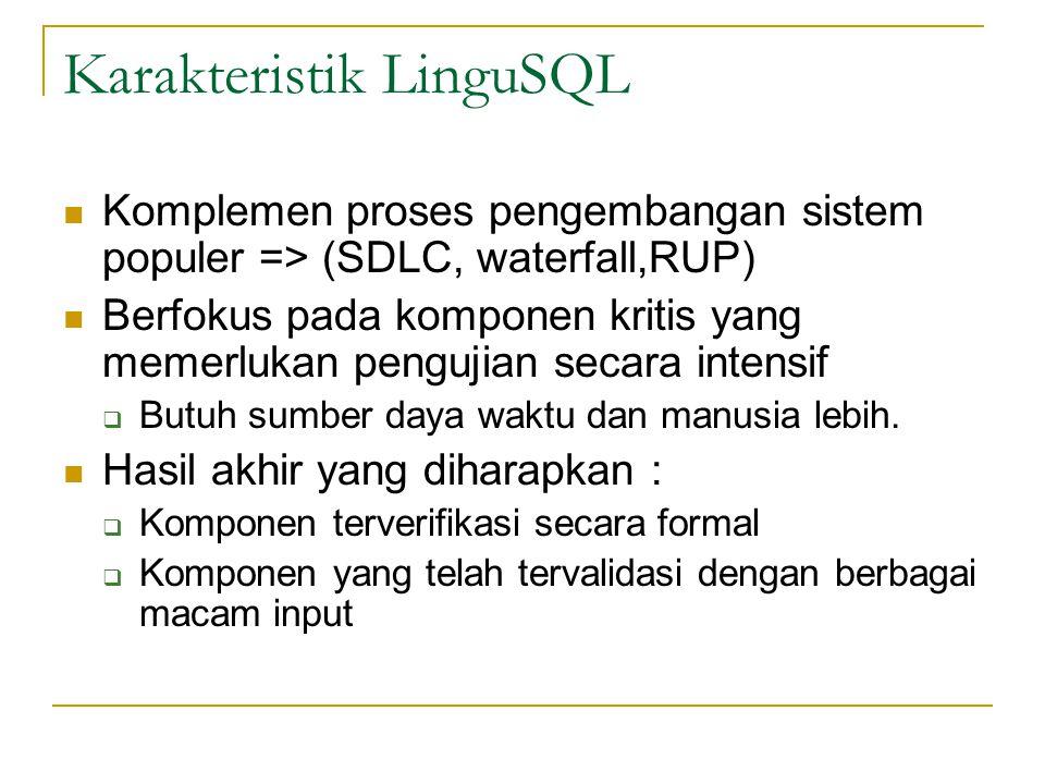 Karakteristik LinguSQL Komplemen proses pengembangan sistem populer => (SDLC, waterfall,RUP) Berfokus pada komponen kritis yang memerlukan pengujian s