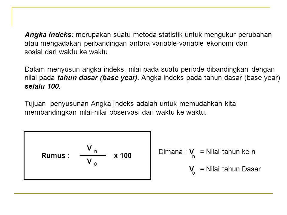 Angka Indeks: merupakan suatu metoda statistik untuk mengukur perubahan atau mengadakan perbandingan antara variable-variable ekonomi dan sosial dari