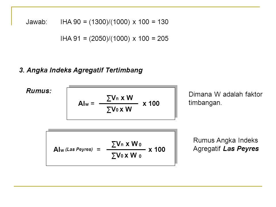Jawab:IHA 90 = (1300)/(1000) x 100 = 130 IHA 91 = (2050)/(1000) x 100 = 205 3. Angka Indeks Agregatif Tertimbang Rumus: AI w = x 100 ∑V n x W ∑V 0 x W