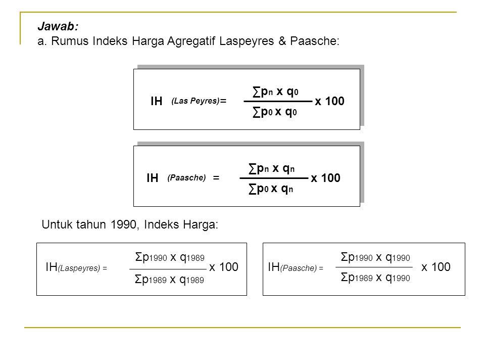 Jawab: a. Rumus Indeks Harga Agregatif Laspeyres & Paasche: IH = x 100 ∑p n x q 0 ∑p 0 x q 0 (Las Peyres) Untuk tahun 1990, Indeks Harga: IH (Laspeyre