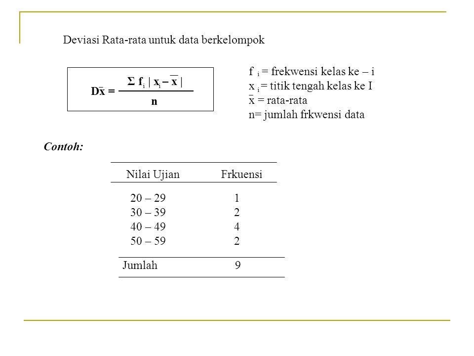 Deviasi Rata-rata untuk data berkelompok Dx = Σ f | x – x | n f = frekwensi kelas ke – i x = titik tengah kelas ke I x = rata-rata n= jumlah frkwensi