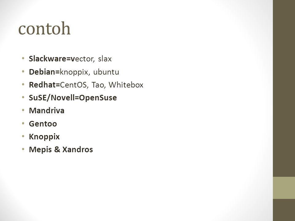 contoh Slackware=vector, slax Debian=knoppix, ubuntu Redhat=CentOS, Tao, Whitebox SuSE/Novell=OpenSuse Mandriva Gentoo Knoppix Mepis & Xandros