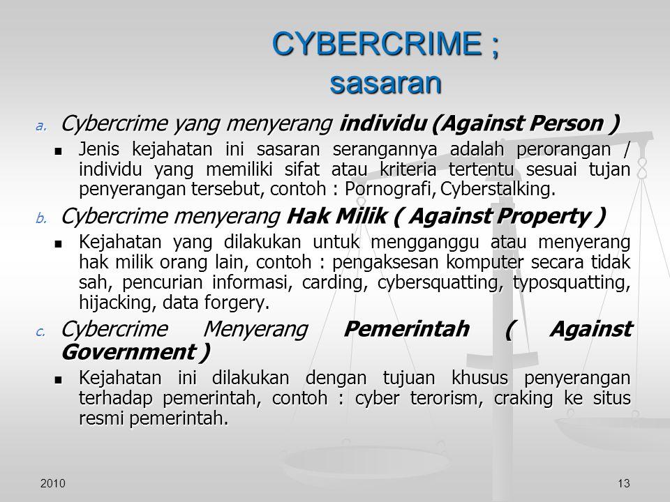 CYBERCRIME ; sasaran a. Cybercrime yang menyerang individu (Against Person ) Jenis kejahatan ini sasaran serangannya adalah perorangan / individu yang