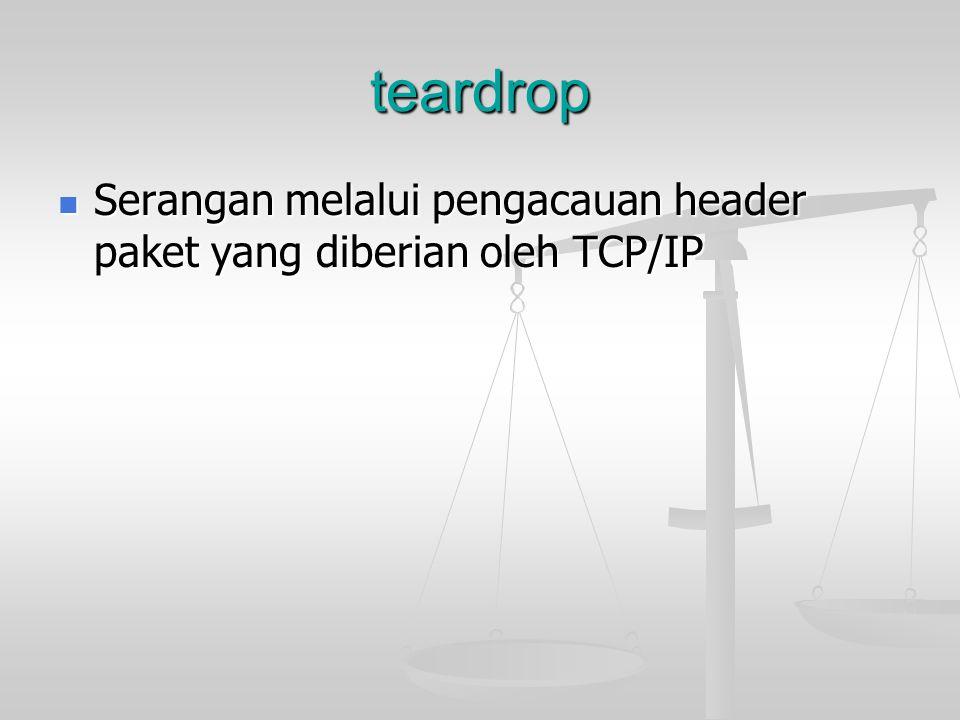 teardrop Serangan melalui pengacauan header paket yang diberian oleh TCP/IP Serangan melalui pengacauan header paket yang diberian oleh TCP/IP