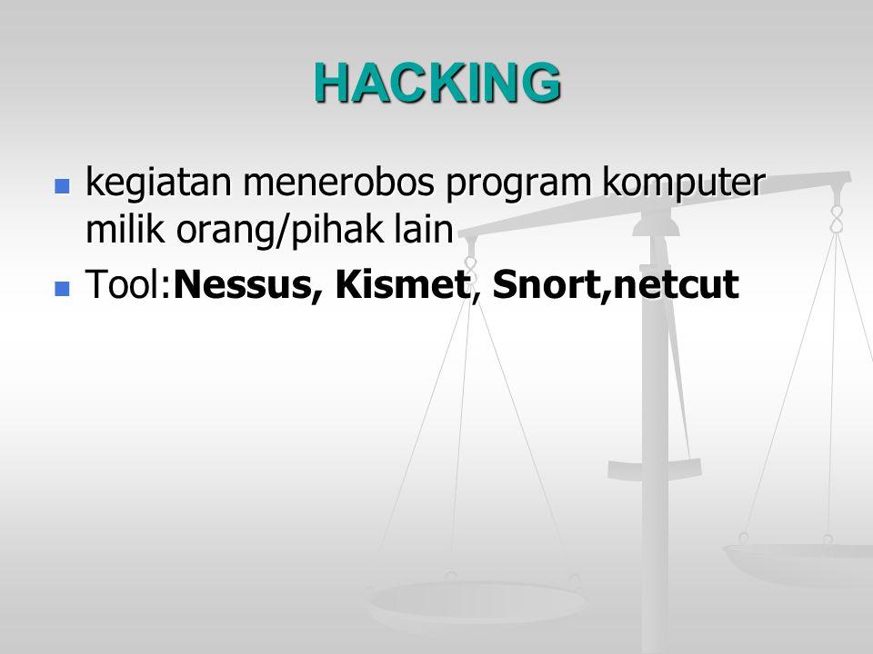 HACKING kegiatan menerobos program komputer milik orang/pihak lain kegiatan menerobos program komputer milik orang/pihak lain Tool:Nessus, Kismet, Sno