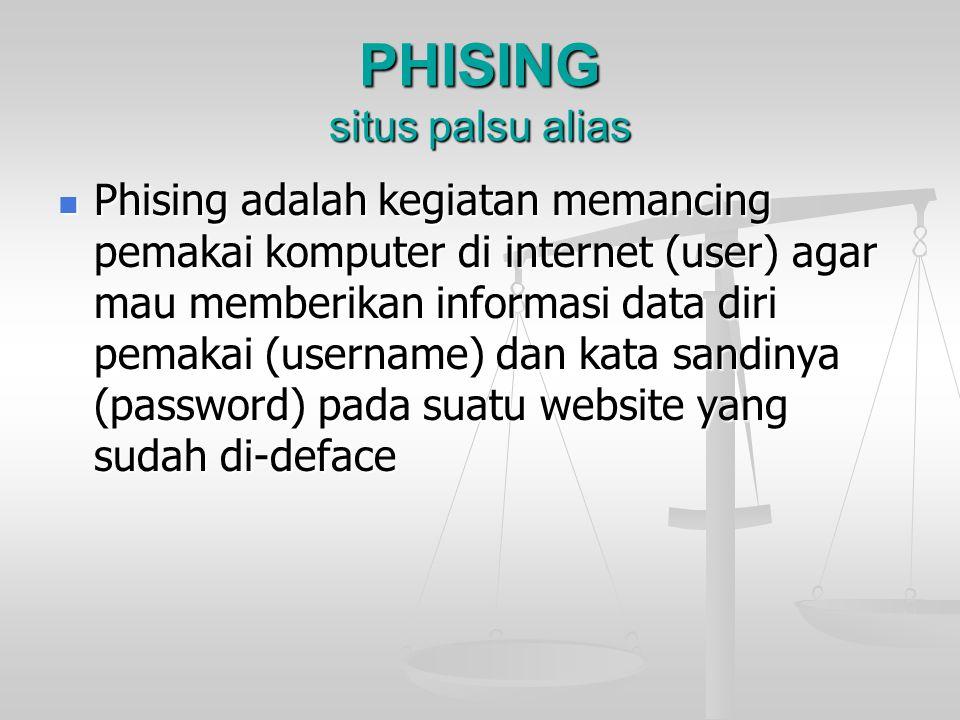 PHISING situs palsu alias Phising adalah kegiatan memancing pemakai komputer di internet (user) agar mau memberikan informasi data diri pemakai (usern