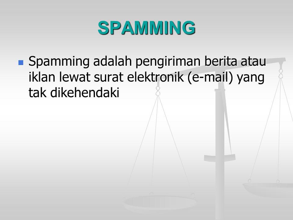 SPAMMING Spamming adalah pengiriman berita atau iklan lewat surat elektronik (e-mail) yang tak dikehendaki Spamming adalah pengiriman berita atau ikla