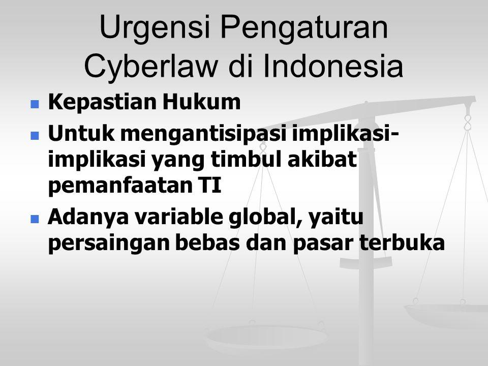 Urgensi Pengaturan Cyberlaw di Indonesia Kepastian Hukum Untuk mengantisipasi implikasi- implikasi yang timbul akibat pemanfaatan TI Adanya variable g
