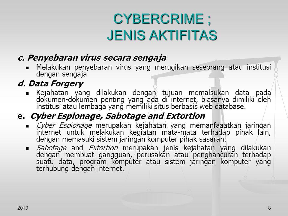 CYBERCRIME ; JENIS AKTIFITAS c. Penyebaran virus secara sengaja Melakukan penyebaran virus yang merugikan seseorang atau institusi dengan sengaja Mela