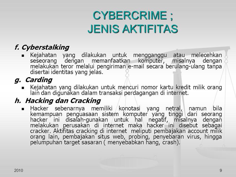 CYBERCRIME ; JENIS AKTIFITAS f. Cyberstalking Kejahatan yang dilakukan untuk mengganggu atau melecehkan seseorang dengan memanfaatkan komputer, misaln