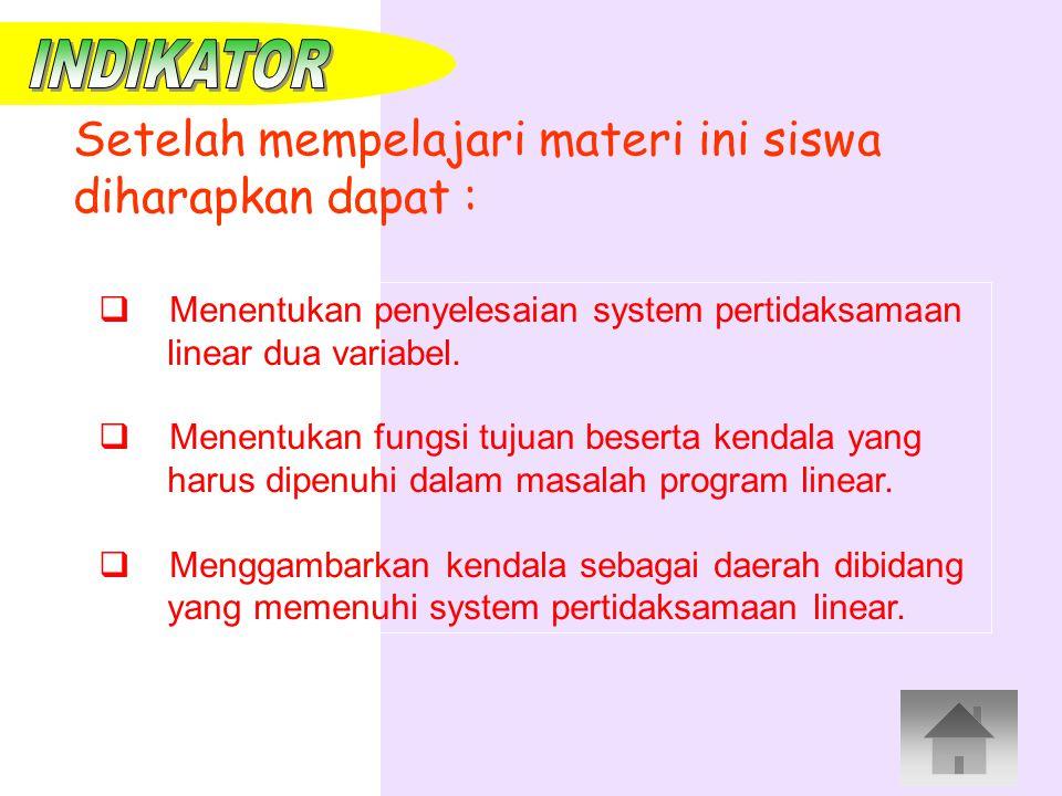  Menentukan penyelesaian system pertidaksamaan linear dua variabel. enentukan fungsi tujuan beserta kendala yang harus dipenuhi dalam masalah program