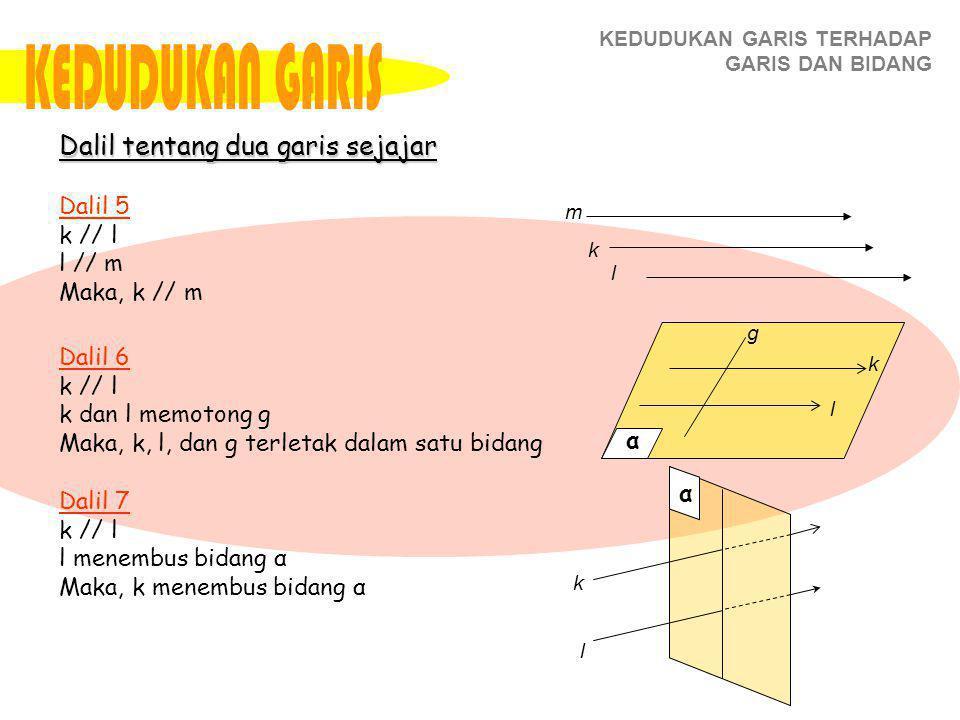 KEDUDUKAN GARIS TERHADAP GARIS DAN BIDANG Dalil 5 k // l l // m Maka, k // m Dalil 6 k // l k dan l memotong g Maka, k, l, dan g terletak dalam satu bidang Dalil 7 k // l l menembus bidang α Maka, k menembus bidang α Dalil tentang dua garis sejajar k l m α k l g α k l