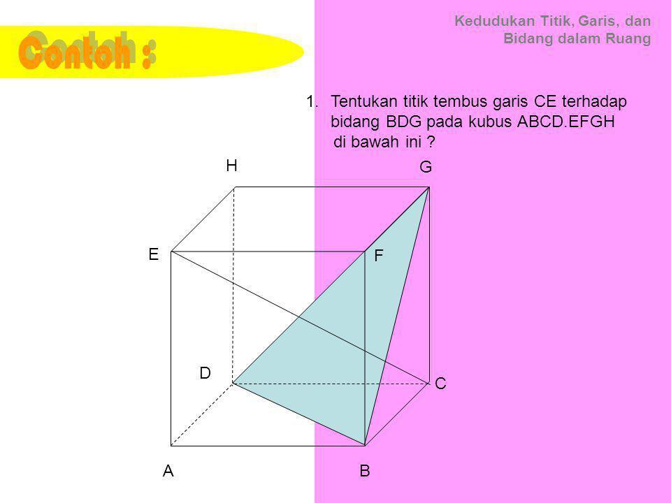 Kedudukan Titik, Garis, dan Bidang dalam Ruang 1.Tentukan titik tembus garis CE terhadap bidang BDG pada kubus ABCD.EFGH di bawah ini ? C A B D E F G