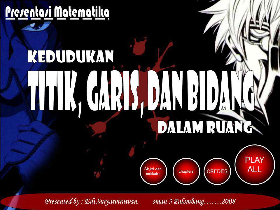 PLAY ALL chapters CREDITS Sk,kd dan indikator Presented by : Edi Suryawirawan, sman 3 Palembang…….2008