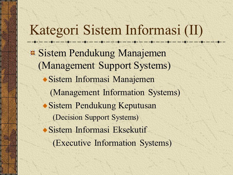 Kategori Sistem Informasi (III) Kategori Lain Sistem Pakar (Expert Systems) Knowledge Management Systems Business Information Systems Strategic Information Systems