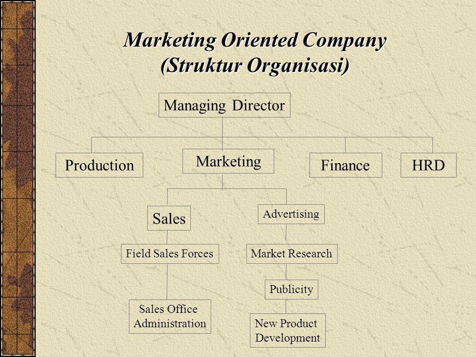 Marketing Oriented Company (Struktur Organisasi) ProductionFinanceHRD Managing Director Marketing New Product Development Sales Field Sales Forces Sales Office Administration Advertising Market Research Publicity
