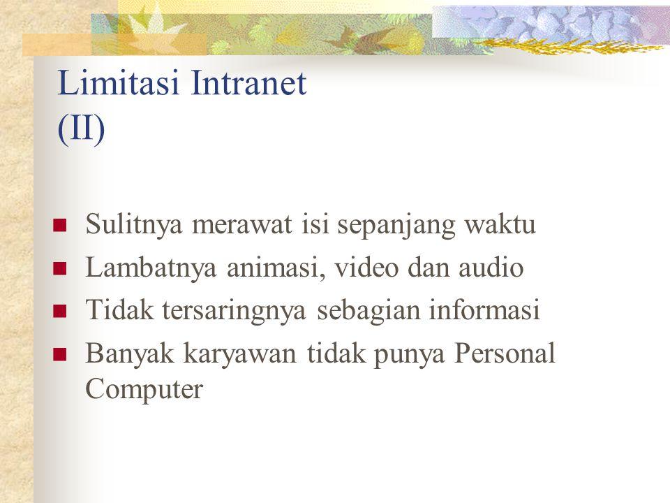 Limitasi Intranet (II) Sulitnya merawat isi sepanjang waktu Lambatnya animasi, video dan audio Tidak tersaringnya sebagian informasi Banyak karyawan t