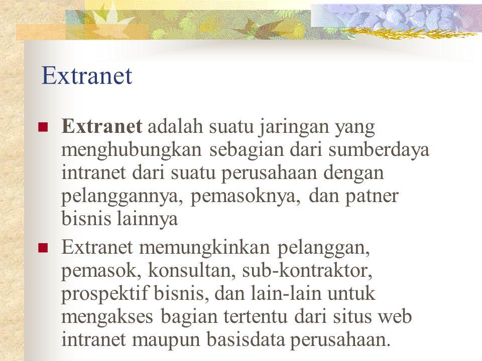 Extranet Extranet adalah suatu jaringan yang menghubungkan sebagian dari sumberdaya intranet dari suatu perusahaan dengan pelanggannya, pemasoknya, da