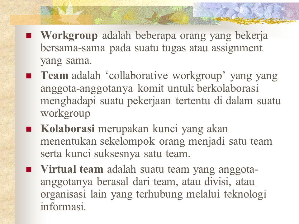 Workgroup adalah beberapa orang yang bekerja bersama-sama pada suatu tugas atau assignment yang sama. Team adalah 'collaborative workgroup' yang yang